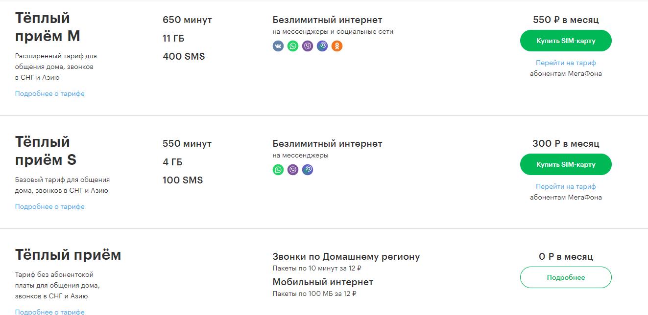 тарифы мегафон ярославль действующие