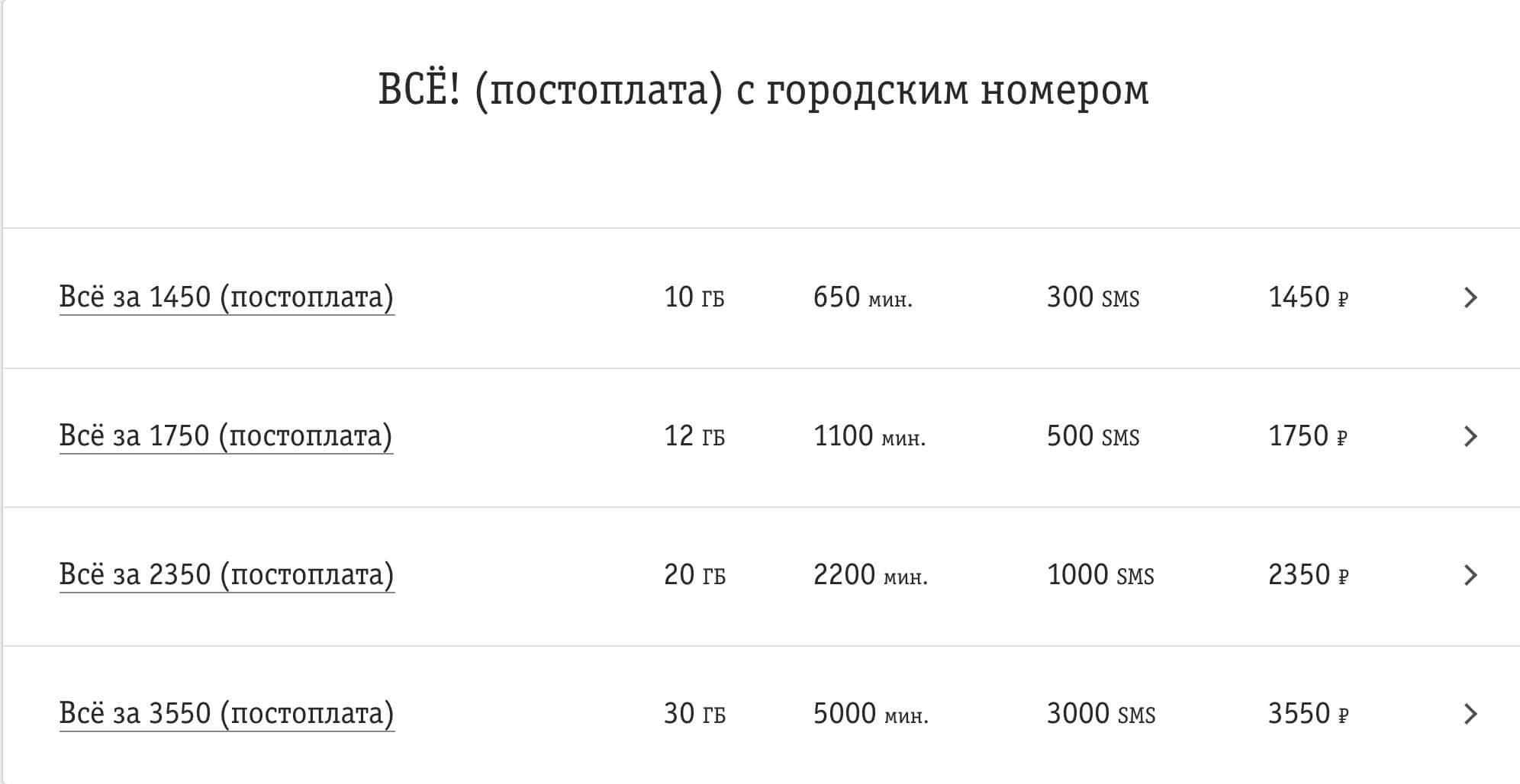тарифы сотовой связи билайн москва