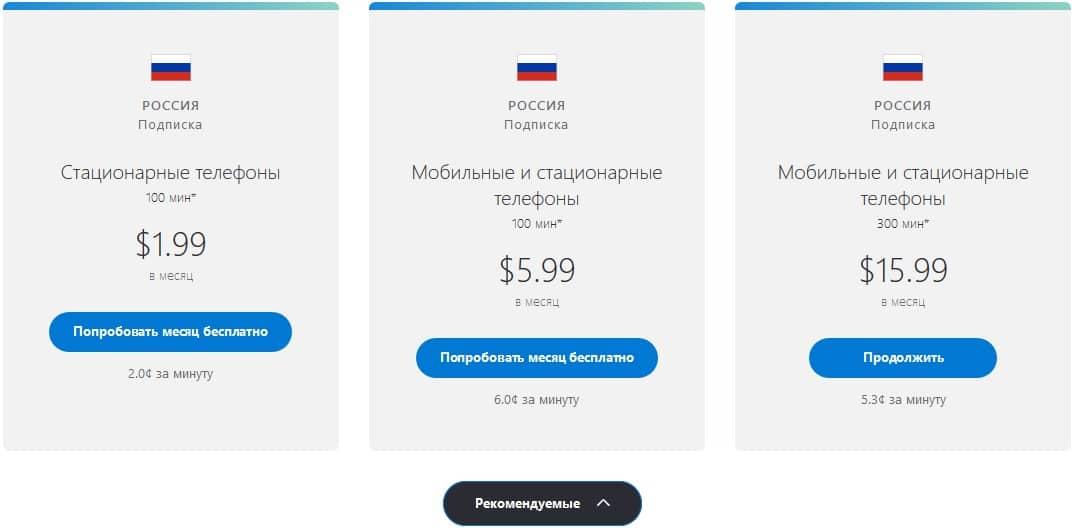 тарифы skype на международные звонки
