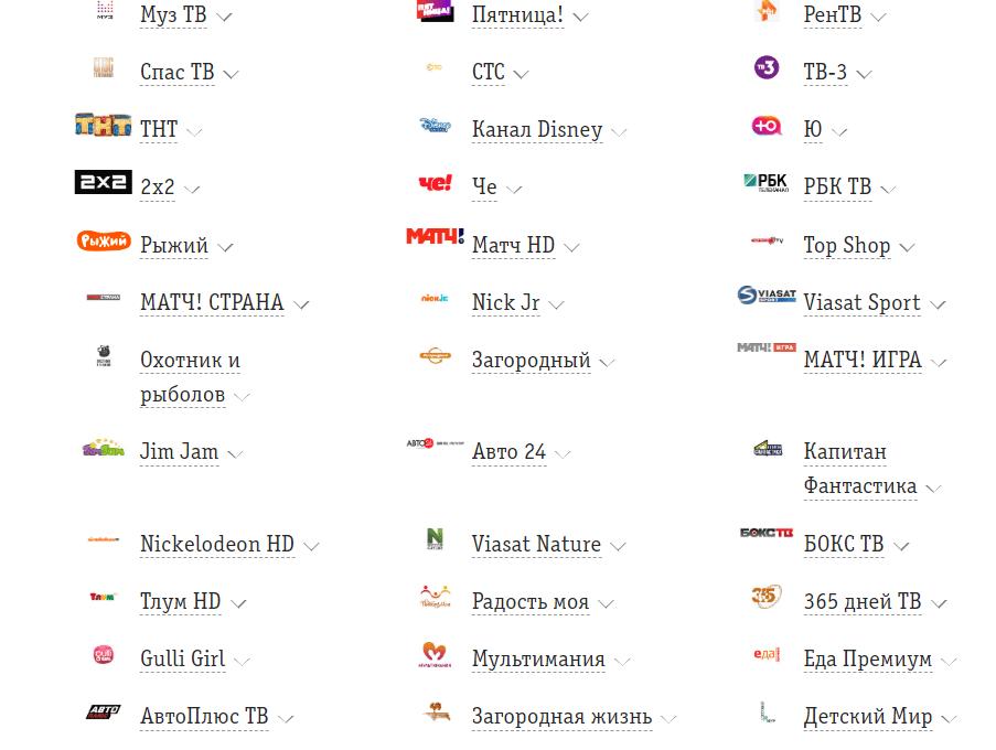 список каналов на тарифе Фантастический MAX